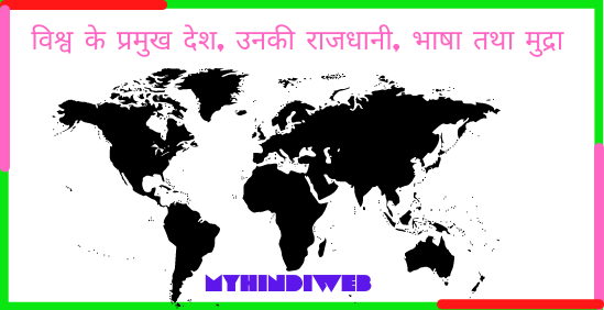 Countries, Capitals and Currencies List in Hindi